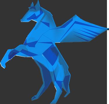 Pegasus ueber den Wolken